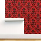 Peel-and-Stick Removable Wallpaper Damask Red Black Richelieu Sexy Boudoir