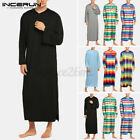 INCERUN Men Striped Long Sleeve Soft Baggy Nightgown Nightwear Sleepwear Gown US