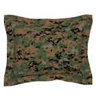 Camouflage Marine Camo Digital Woodland Pillow Sham by Roostery