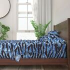 Blue Camo Tigerstripe 100% Cotton Sateen Sheet Set by Roostery