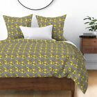 Retro Mod Bird Yellow And Grey Corrie Canvas Sateen Duvet Cover by Roostery
