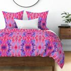 Abstract Painting Canvas Texture Painted Oil Sateen Duvet Cover by Roostery