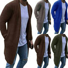 Mens Knitted Cardigan Sweater Open Front Plain Coat Jacket Casual Outwear Tops