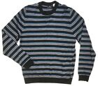 NEW 250 PS PAUL SMITH GRAY BLUE STRIPED MERINO WOOL CREWNECK SWEATER