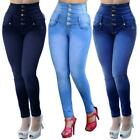 New Women's Five Button Classic Jeans High Waist elastic Denim Pants Trousers