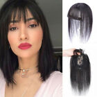100 Human Hair Topper Toupee Closure Clip in Top Hairpiece with Air Bangs Thin