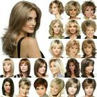 Women Synthetic Medium Short Curly Wig Ombre Blonde Front Lace Bob Wavy Hair Wig