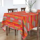 Tablecloth Red Orange Coral Mid Century Modern Cotton Sateen