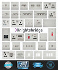 KNIGHTSBRIDGE BRUSHED CHROME FLAT PLATE Switches & Sockets ALL Inserts + USB
