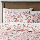 King Family Friendly Reversible Floral Printed Comforter Coral/White - Threshold