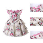 Girls Spanish Dress Floral Print Lace Trimmed Ceremony Party Layered Dresses US