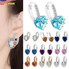 15 Colors  925 Silver Plated  Earrings Heart Sapphire For Women Jewelry Gift