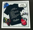 Gaming Video Computer Games Personalised Handmade 3d Birthday Card Son Grandson