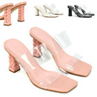 Womens Strappy Slip On Sandals Ladies Square Toe Heel Perspex Shoes Size 3-8