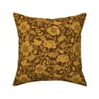 Wood Texture Flower Bird Throw Pillow Cover w Optional Insert by Roostery