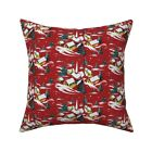 Christmas Retro Vintage 1950S Throw Pillow Cover w Optional Insert by Roostery