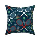1950S Tennis Racquets Tennis Throw Pillow Cover w Optional Insert by Roostery