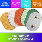 Kitchen Plain Quilted Placemat 6 Colours  Oval Mat Mats