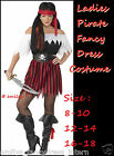 LADIES PIRATE BUCCANEER CARRIBEAN FANCY DRESS  COSTUME Size  8 10 12 14 16 18
