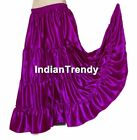 VRed Satin 4 Tier Gypsy Skirt Belly Dance Costume Club