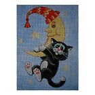"Needlepoint canvas ""Sweet cat on the moon"""