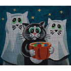 "Needlepoint canvas ""Sweet cat with his favorite toy"""