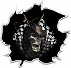 Racing skull graphic decal motorcycle go kart race car