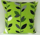 LIME GREEN BLACK GREY WHITE FLOWERED CUSHION COVERS