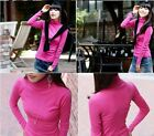 Women Turtleneck Long Sleeve Candy Color Backing Shirt
