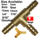 BRASS T JOINER Piece 3 WAY Fuel Hose Joiner TEE CONNECTOR (VARIOUS SIZE)