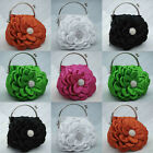Kiss Lock Satin Floral Pattern Wedding Party Prom Evening  Clutch Bag