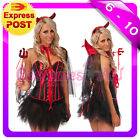 New Women Deluxe Halloween Gothic Vampire Devil Corset Fancy Dress Costume S-2XL