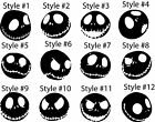 Set of 2 - Jack Skellington Vinyl Sticker Decal Nightmare - 12 Styles Available