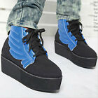 Casual Womens Canvas Flying Wing Lace-up Flat Platform Shoes Ankle Boots 1k9