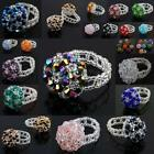 Wholesale Crystal Glass Beads Floral Flower Mushroom Finger Rings Women Jewelry