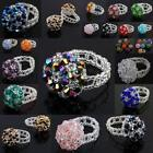 Wholesale Crystal Glass Braided Floral Flower Finger Ring Rings Women's Jewelry