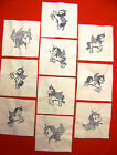 10 MACHINE EMBROIDERED VARAGATED UNICORN QUILT BLOCKS (YOUR COLOR CHOICE)