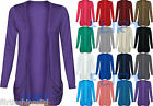Womens Long Sleeves Drop Pocket Boyfriend Cardigan Ladies Open Casual Tops 8-14