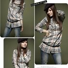 Classic Check Ruffle Long Top Dress Shirt Shirts Women