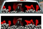 Red Flame Grim Reaper Skull rear window view thru graphic film