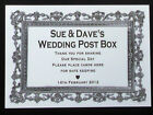 PERSONALISED WEDDING POST BOX SIGN A4 NAMES DATE MESSAGE GOLD PEWTER HAND MADE