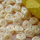 Cream Satin Ribbon Roses 15mm Appliques Scrapbooking Sewing Craft JMSR
