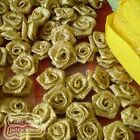 Gold Metal Ribbon Roses 15mm Appliques Scrapbooking Sewing Craft JMSR