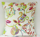 NEW SINGLE CUSHION COVERS CERISE GREEN BLUE FLOWERS LEAVES RETRO 60s STYLE