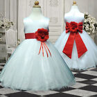 UKMD57 Red Baby Christmas Party Flower Girls Dress 1,2,3,4,5,6,7,8,9,10,11-13Yrs