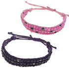 PINK & PURPLE SEED & HEMATITE BEADS WAXED COTTON CORD WRAP WRISTBAND BRACELET