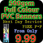 PVC VINYL BANNER - ALL SIZES - SOLVENT PRINTED OUTDOOR ADVERTISING SIGN DISPLAY