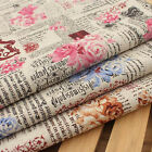 Vintage Chic ROSE & NEWSPAPER Cotton Linen Fabric Retro