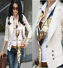 Beige Button Career OL Womens Suit Outwear Long Sleeve Top Blazer 8 10 M L N230