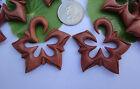 Pair Organic Sawo Wood Star Flower Tribal Floral Spirals Ear Expander Plug Gauge
